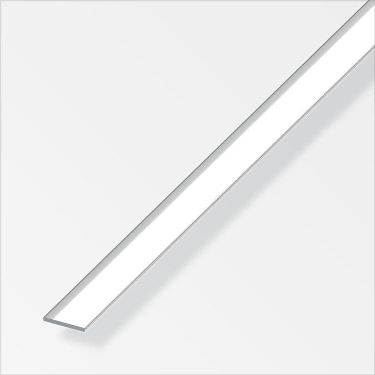 Alfer Aluminium Chrome Flat Bar - 20mmx2mmx1m